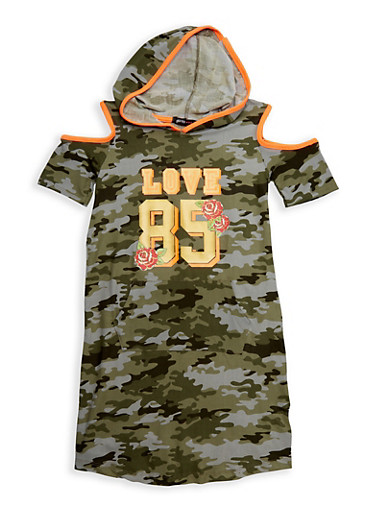 Girls 7-16 Graphic Camo Cold Shoulder Dress,CAMOUFLAGE,large