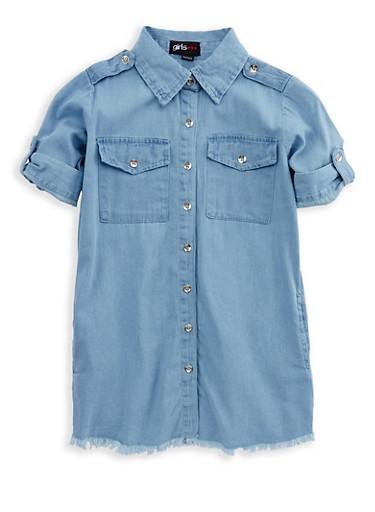 Girls 7-16 Frayed Denim Shirt Dress,DENIM,large