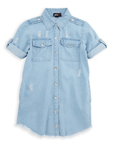 Girls 7-16 Frayed Button Front Denim Dress,DENIM,large