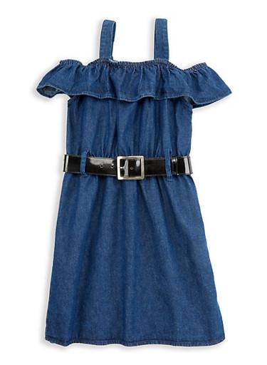 Girls 7-16 Off the Shoulder Belted Denim Dress,DENIM,large