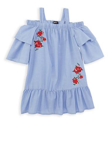 Girls 7-16 Striped Off the Shoulder Dress,BLUE,large