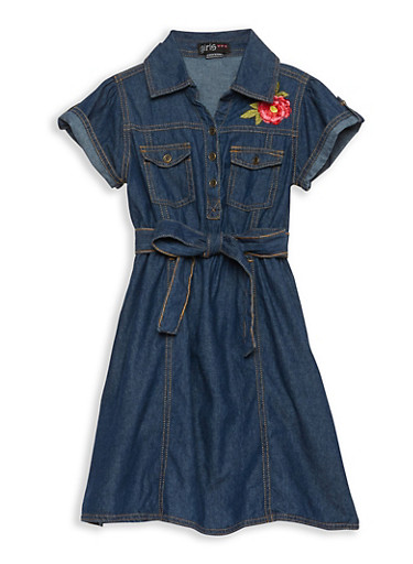 Girls 7-16 Flower Embroidered Denim Dress,DARK,large