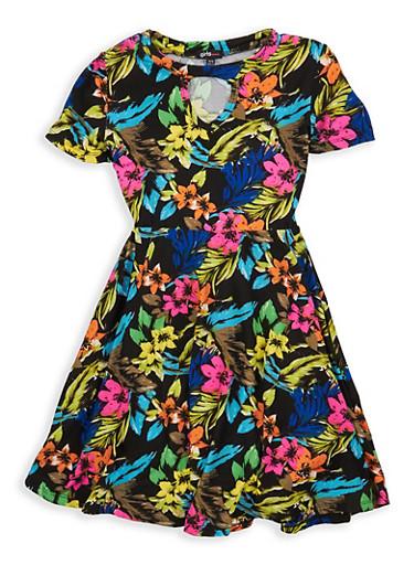 Girls 7-16 Floral Soft Knit Skater Dress,BLACK,large
