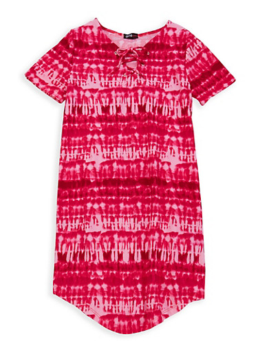 Girls 7-16 Tie Dye T Shirt Dress,PINK,large
