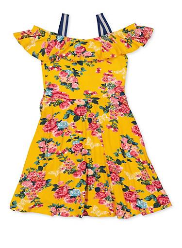 Girls 7-16 Off the Shoulder Floral Skater Dress,MUSTARD,large