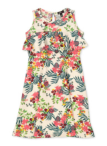 Girls 7-16 Floral Ruffled Skater Dress with Necklace,IVORY,large