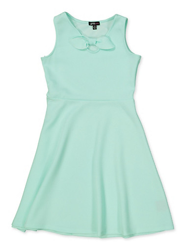 Girls 7-16 Bow Textured Knit Skater Dress,MINT,large