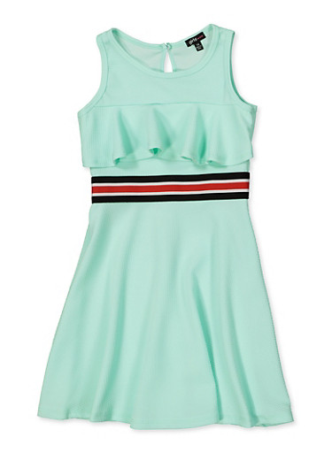 Girls 7-16 Striped Tape Ruffle Skater Dress,MINT,large