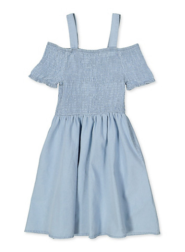 Girls 7-16 Smocked Denim Skater Dress,LIGHT WASH,large
