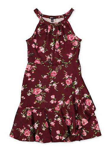 Girls 7-16 Floral Textured Knit Dress,WINE,large