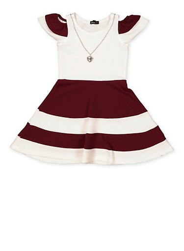 Girls 7-16 Color Block Skater Dress with Necklace,WINE,large