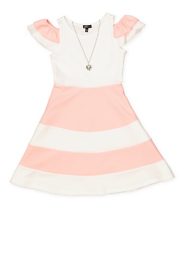 Girls 7-16 Color Block Tiered Sleeve Skater Dress,PINK,large