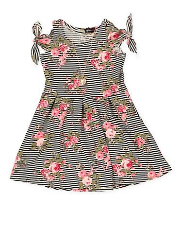 Girls 7-16 Striped Floral Skater Dress,BLACK,large