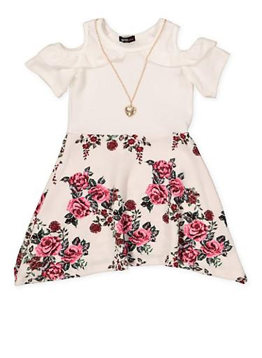 Girls 7-16 Ruffled Cold Shoulder Floral Skater Dress | 1615038340284,IVORY,large
