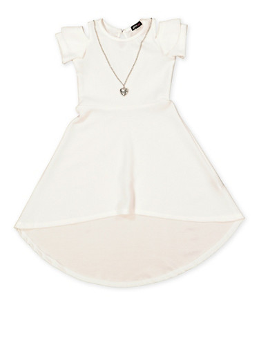 Girls 7-16 High Low Dress with Necklace,IVORY,large