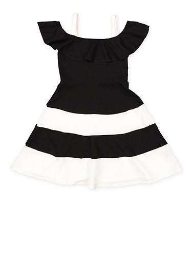 Girls 7-16 Off the Shoulder Color Block Skater Dress,BLACK,large