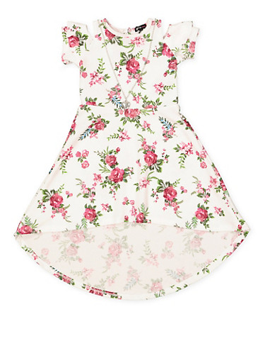 Girls 7-16 Floral High Low Dress with Necklace,IVORY,large