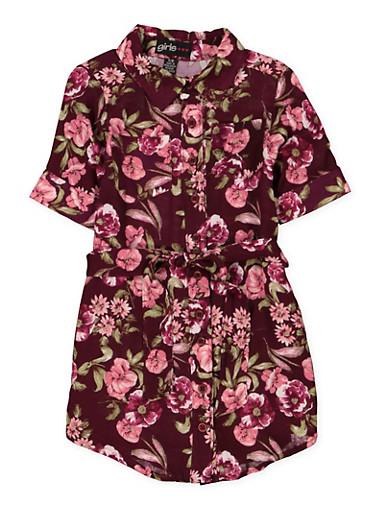 Girls 6x-16 Belted Floral Shirt Dress,WINE,large