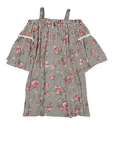 Girls 7-16 Floral Striped Off the Shoulder Dress,BLACK/WHITE,large