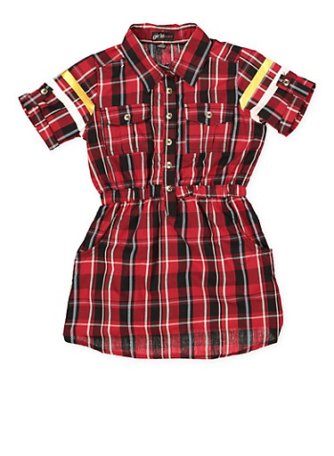 Girls 7-16 Love Graphic Half Button Plaid Dress,RED,large
