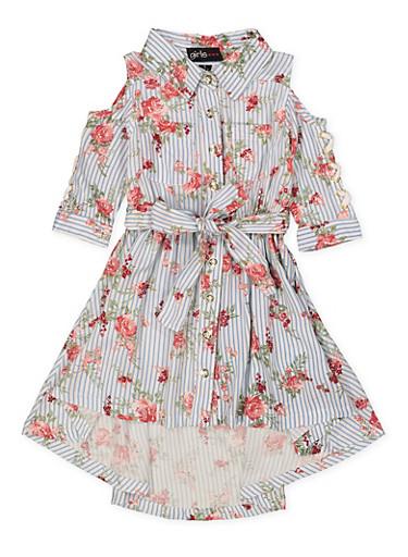 Girls 7-16 Floral Striped Cold Shoulder Shirt Dress,BLUE,large