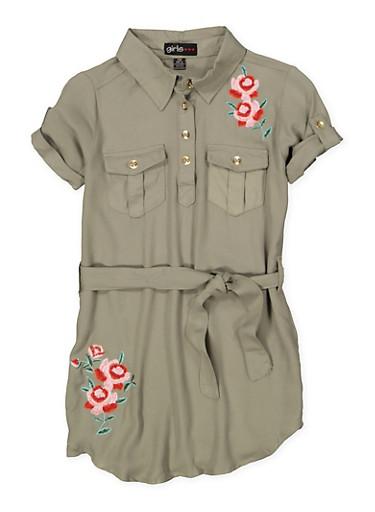 Girls 7-16 Embroidered Shirt Dress,OLIVE,large