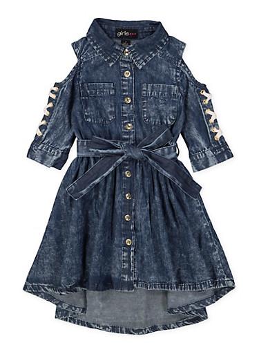 Girls 7-16 Denim Cold Shoulder Shirt Dress,DENIM,large