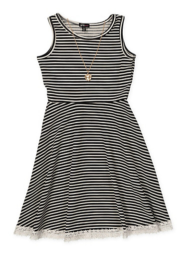 Girls 7-16 Crochet Trim Skater Dress with Necklace,BLACK,large
