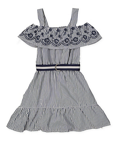 Girls 7-16 Eyelet Ruffle Cold Shoulder Striped Dress,NAVY,large