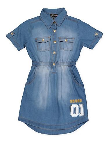 Girls 7-16 Fierce Squad 01 Denim Dress,MEDIUM WASH,large