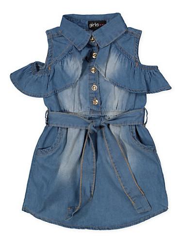 Girls 7-16 Half Button Denim Dress,MEDIUM WASH,large
