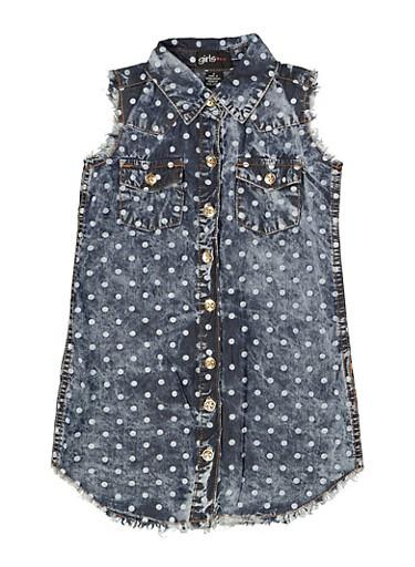 Girls 7-16 Polka Dot Chambray Shirt Dress,MEDIUM WASH,large