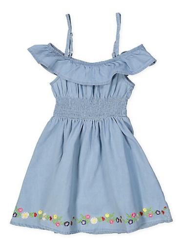 Girls 7-16 Floral Embroidered Trim Off the Shoulder Dress,LIGHT WASH,large