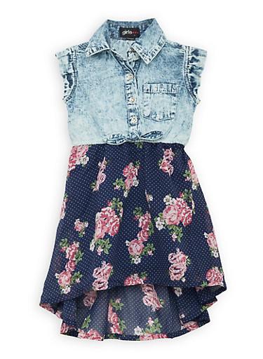Girls 7-16 Floral and Denim High Low Dress,LIGHT WASH,large