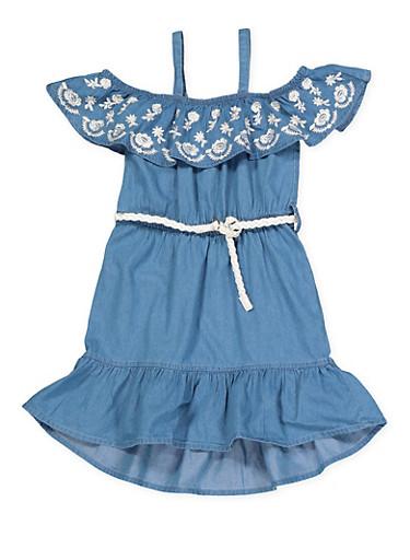 Girls 7-16 Belted Off the Shoulder Denim Dress,MEDIUM WASH,large