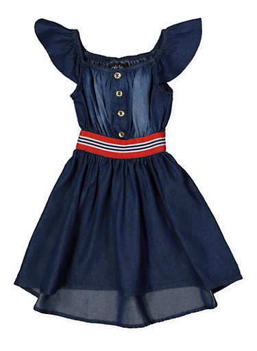 Girls 7-16 Denim Skater Dress,DARK WASH,large