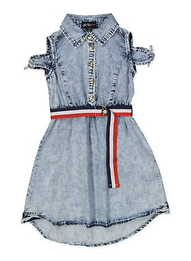 Girls 7-16 Belted Denim Skater Dress,LIGHT WASH,large