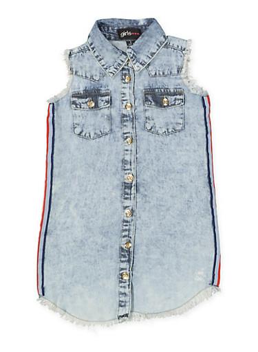 Girls 7-16 Sleeveless Frayed Denim Shirt Dress,LIGHT WASH,large