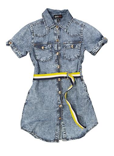 Girls 7-16 Belted Denim Shirt Dress,MEDIUM WASH,large