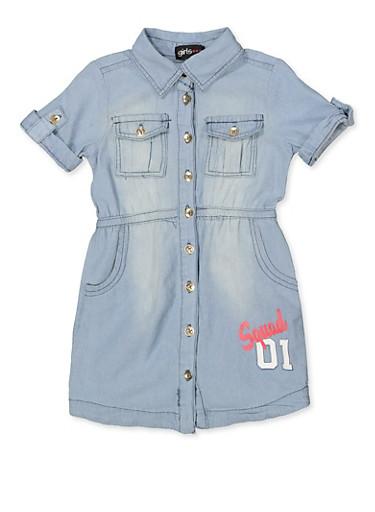 Girls 7-16 Squad Graphic Denim Shirt Dress,LIGHT WASH,large