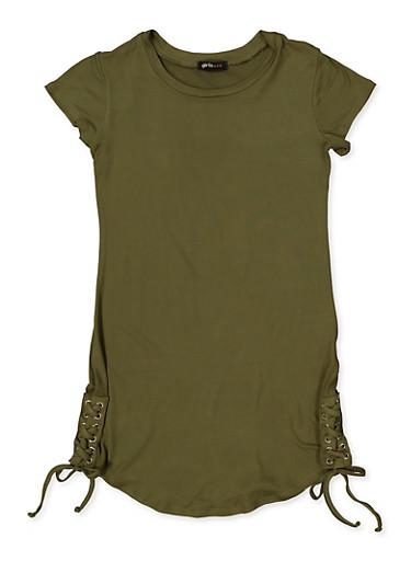 Girls 7-16 Lace Up Side T Shirt Dress,OLIVE,large