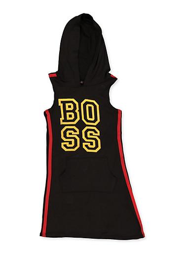 Girls 7-16 Boss Hooded Tank Dress,BLACK,large