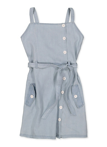 Girls 7-16 Square Neck Button Front Denim Dress,LIGHT WASH,large