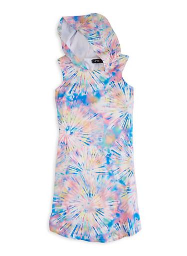 Girls Starburst Tie Dye Sleeveless Hooded Dress,PINK,large