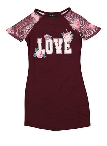 Girls 7-16 Love T Shirt Dress,PURPLE,large