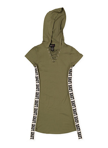 Girls 7-16 Love Graphic Tape Hooded Dress,OLIVE,large