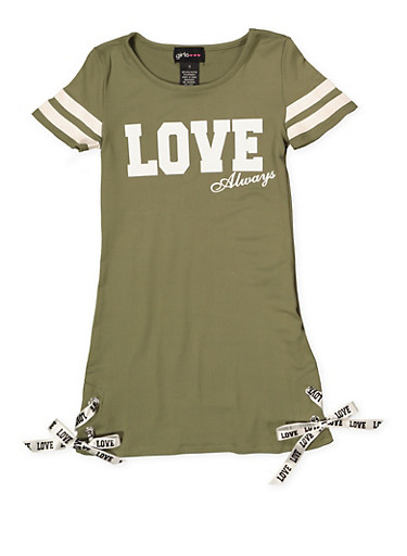 Girls 7-16 Love Always T Shirt Dress,OLIVE,large