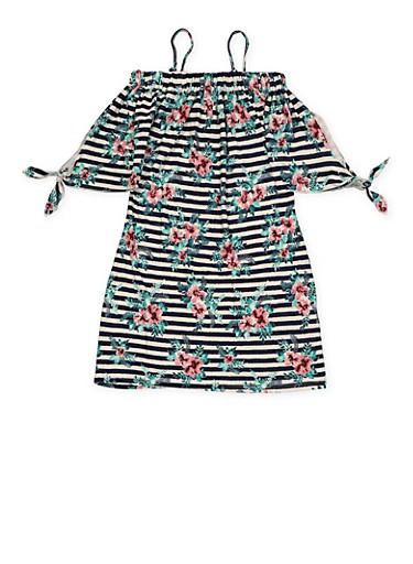 Girls 7-16 Striped Floral Off the Shoulder Dress,MAUVE,large