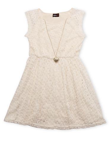 Girls 7-16 Sleeveless Crochet Knit Dress with Necklace,IVORY,large