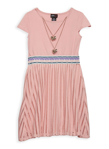 Girls 7-16 Textured Ponte Dress with Necklace,MAUVE,large